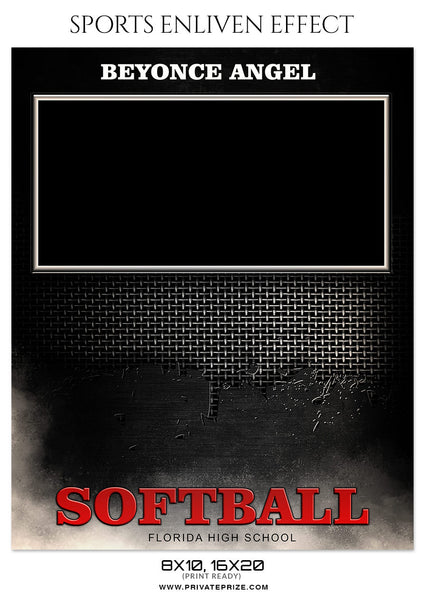 BEYONCE ANGEL- SOFTBALL SPORTS MEMORY MATE - Photography Photoshop Template