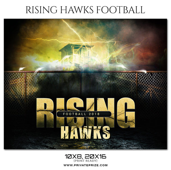 RISING HAWKS - FOOTBALL  Themed Sports Photography Template