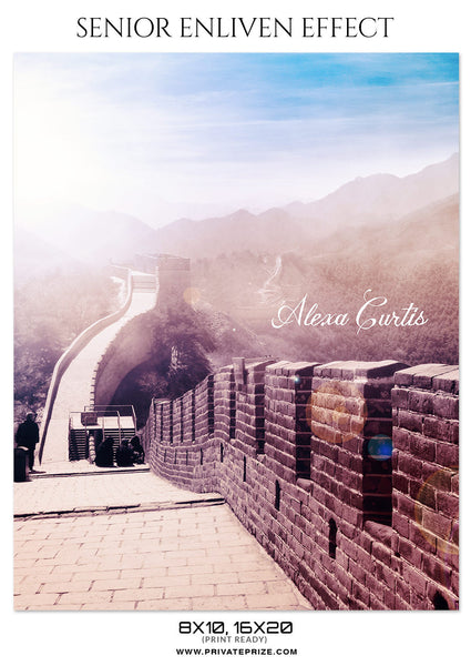 ALEXA CURTIS - GREAT WALL OF CHINA - SENIOR ENLIVEN EFFECT - Photography Photoshop Template