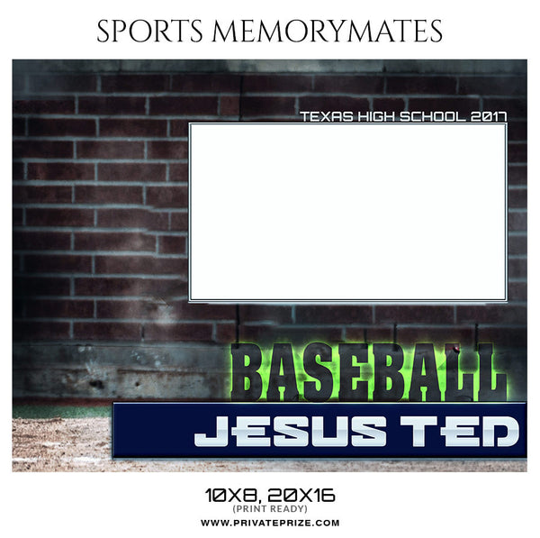 Jesus Ted Baseball Sports Memory Mate Photoshop Template - Photography Photoshop Template