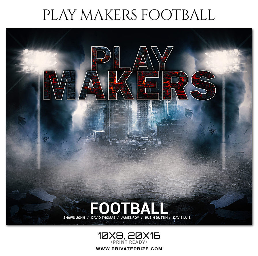 Playmakers football themed sports photography template for Playmaker templates