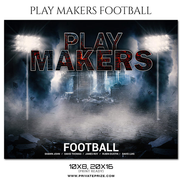 Playmakers Football Themed Sports Photography Template - Photography Photoshop Template