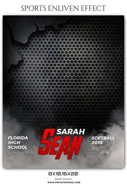 SARAH SEAN -SOFTBALL- SPORTS ENLIVEN EFFECT - Photography Photoshop Template