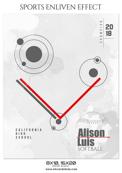ALISON LUIS - SOFTBALL SPORTS PHOTOGRAPHY - Photography Photoshop Template