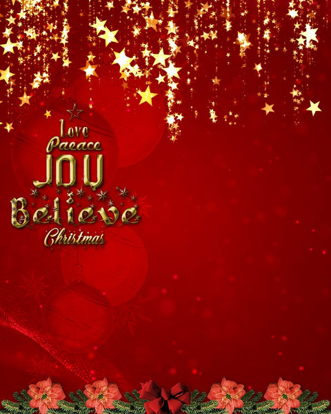 Love Peace Joy Christmas Digital Backdrop Red - Photography Photoshop Templates