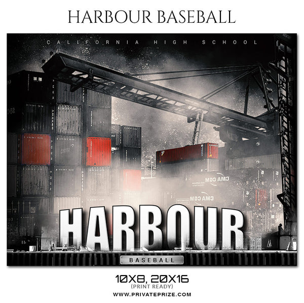 HARBOUR BASEBALL Themed Photography Sports Template - Photography Photoshop Template