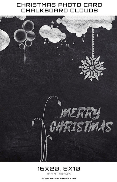 Christmas chalkboard clouds Digital Background Template - Photography Photoshop Templates