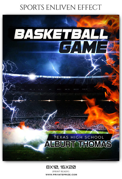 Alburt Thomas Basketball Enliven Effects Sports Photoshop Template - Photography Photoshop Template