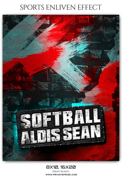 Aldis Sean Softball Sports Enliven Effect Photography Photoshop Template - Photography Photoshop Template