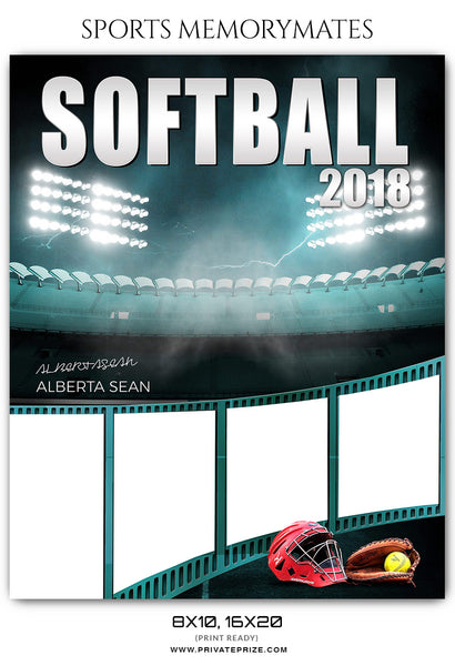 Alberta Sean Softball Sports Memory Mates Photoshop Template