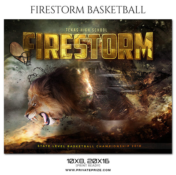 FIRESTORM BASKETBALL THEME Sports Photography Template - Photography Photoshop Template