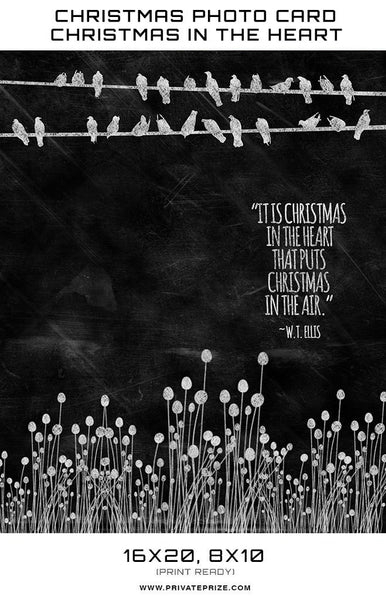 Christmas Chalkboard Christmas in the Heart  Digital Background Template - Photography Photoshop Templates