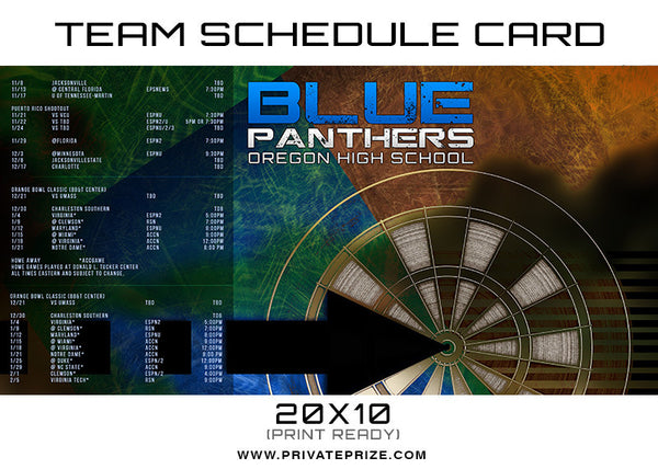 Blue Panthers Team Schedule Card - Photography Photoshop Templates