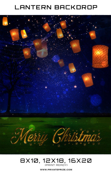 Christmas Love Lantern  Digital Background Template - Photography Photoshop Templates