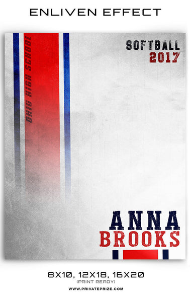 Anna Brooks Softball Template -  Enliven Effects - Photography Photoshop Templates