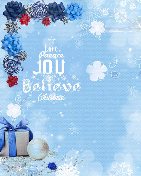 Love Peace Christmas Digital Backdrop Blue - Photography Photoshop Templates