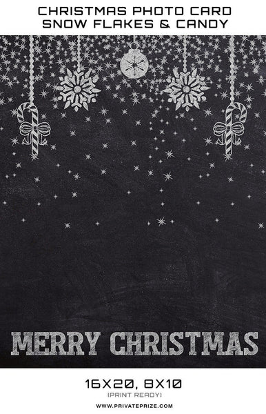 Christmas Chalkboard Snowflakes and Candy  Digital Background Template - Photography Photoshop Templates
