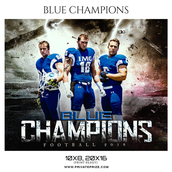 Blue Champions - Football Themed Sports Photography Template - Photography Photoshop Template