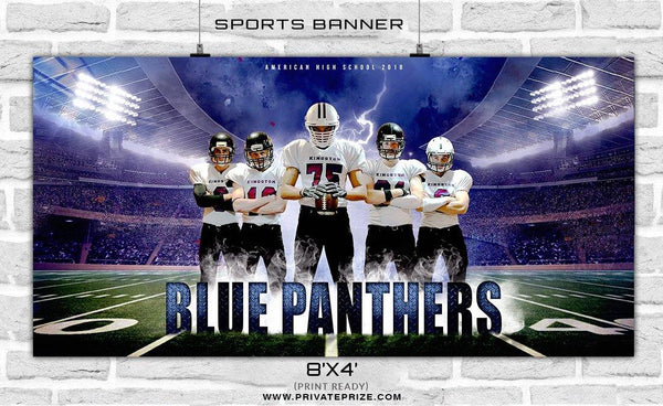Blue Panthers - Football Sports Banner Photoshop Template - Photography Photoshop Template