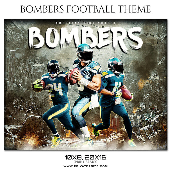 Bombers - Football Themed Sports Photography Template - Photography Photoshop Template