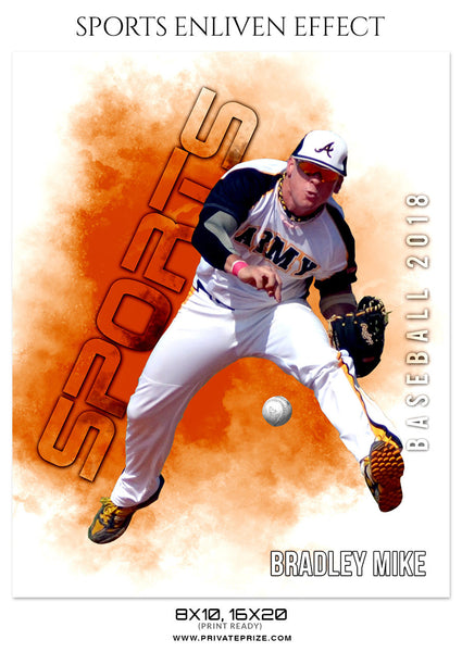 BRADLEY MIKE-BASEBALL- SPORTS ENLIVEN EFFECT - Photography Photoshop Template