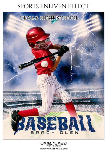 Brady Glen Baseball Sports Enliven Effect  Photoshop Template - Photography Photoshop Template
