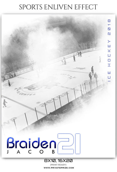 Braiden Jacob - Ice Hockey Sports Enliven Effects Photography Template - Photography Photoshop Template