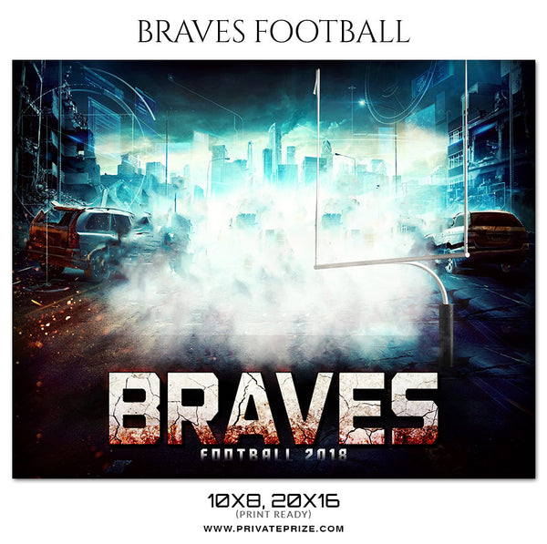 Braves Football - Themed Sports Photography Template - Photography Photoshop Template