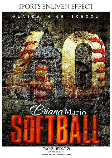 Briana Mario - Softball Sports Enliven Effects Photography Template