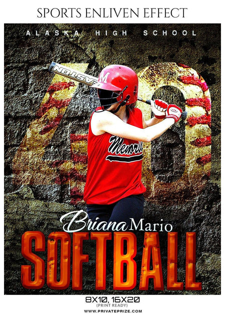 Briana Mario - Softball Sports Enliven Effects Photography Template - Photography Photoshop Template