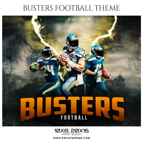 Busters Football Themed Sports Photography Template - Photography Photoshop Template