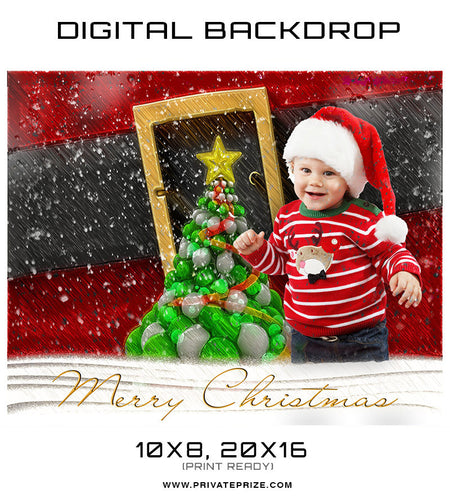 Baby Christmas Digital Backdrop Red Photographer Template - Photography Photoshop Template