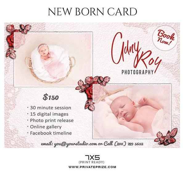 Aaron Curtis - New Born Photo Card - Photography Photoshop Template