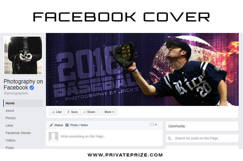 Facebook Timeline Cover Baseball Photography - Photography Photoshop Templates