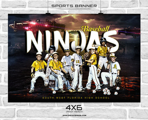 Ninjas - Baseball Sports Banner Photoshop Template - PrivatePrize Photography Photoshop Templates