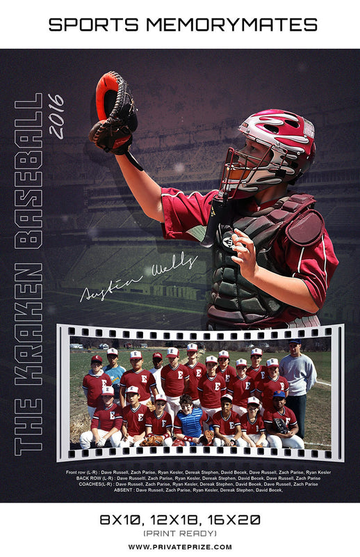 The Karken Baseball - Sports Collage Photoshop Template - Photography Photoshop Template