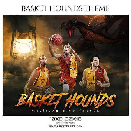 Basket Hounds - Basketball - Theme Sports Photography Template - Photography Photoshop Template