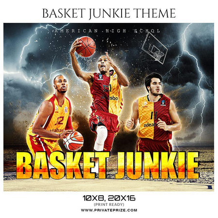 Basket Junkie  - Basketball Theme Sports Photography Template - PrivatePrize - Photography Templates