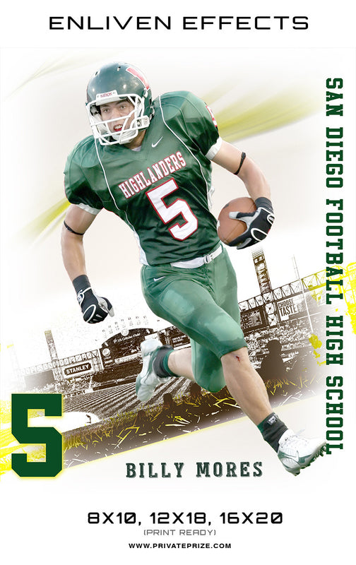 Billy Moore San Diego Football High School - Enliven Effects - Photography Photoshop Templates