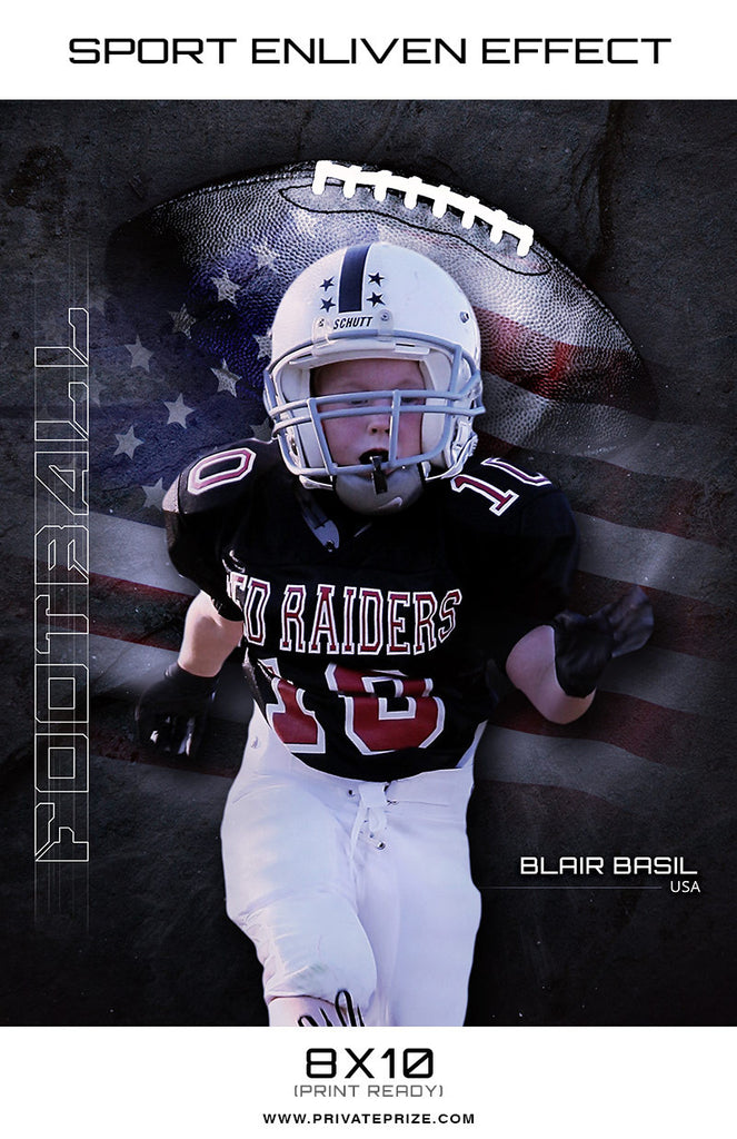 Blair Football High School Sports - Enliven Effects - Photography Photoshop Templates