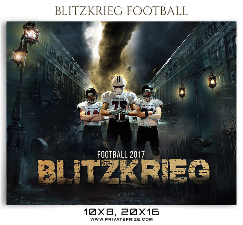 Blitzkrieg Football Themed Sports Photography Template - Photography Photoshop Template