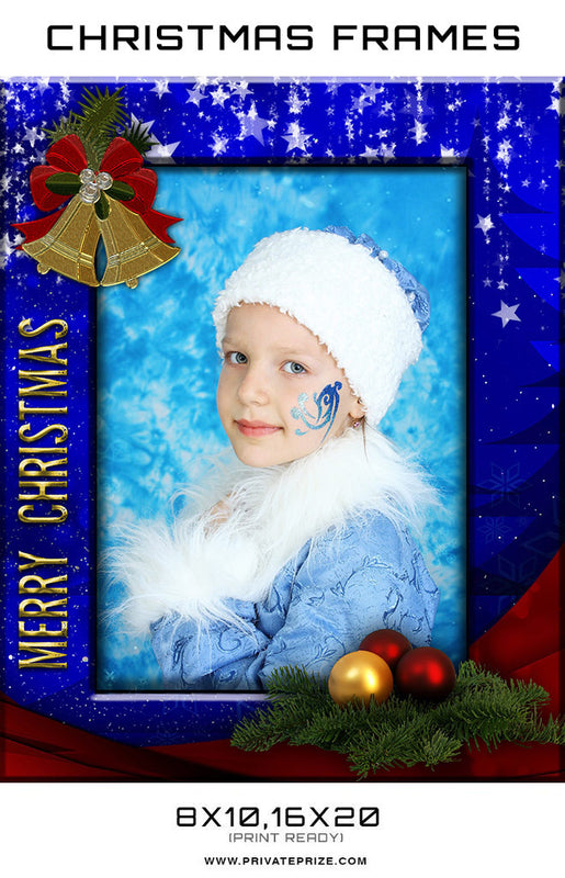 Blue Christmas Frame Digital Backdrop - Photography Photoshop Template