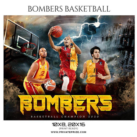 Bombers - Basketball Sports Themed  Photography Template - Photography Photoshop Template