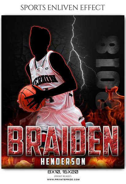 Braiden Henderson - Basketball Sports Enliven Effects Photography Template