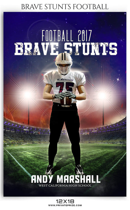Brave Stunts- Football- Themed Sports Template - Photography Photoshop Template