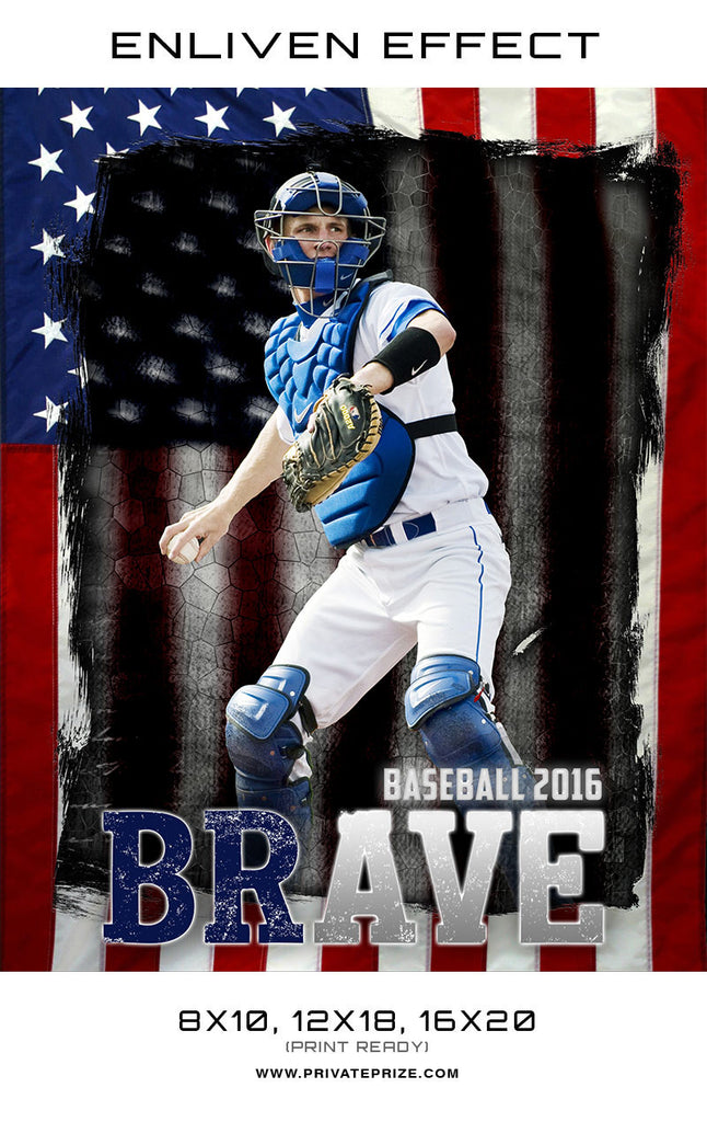 Brave Baseball Sports Template -  Enliven Effects - Photography Photoshop Templates
