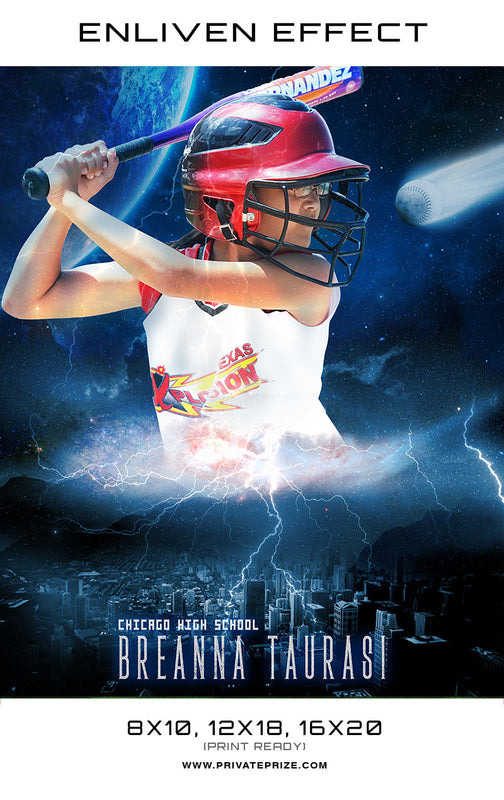 Breanna Softball Chicago High School Sports Template -  Enliven Effects - Photography Photoshop Template