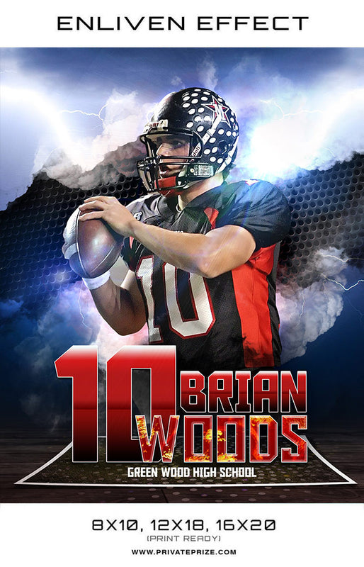 Brian Green Wood High School Football Sports Template -  Enliven Effects - Photography Photoshop Templates