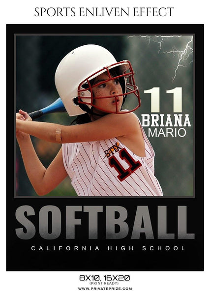 Briana Mario - Softball Sports Enliven Effect Photography template