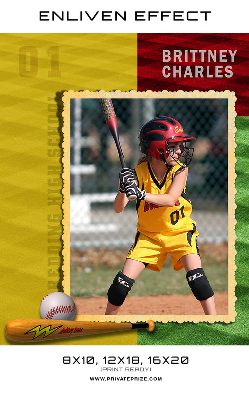 Brittney Bedding Softball High School Sports Template -  Enliven Effects - Photography Photoshop Templates